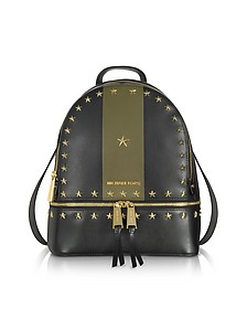 Rhea Zip Medium Black and Olive Leather Backpack - Michael Kors