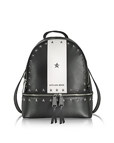 Rhea Zip Medium Black and White Leather Backpack w/Stars - Michael Kors
