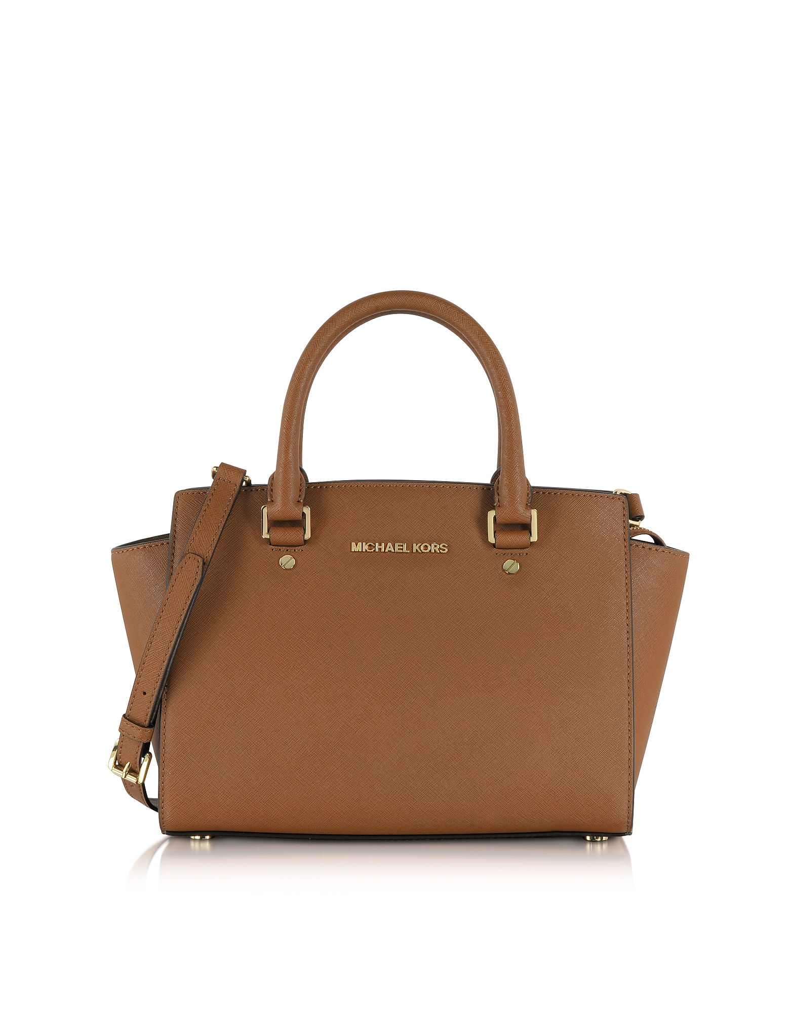 Michael Kors Handbags, Selma Medium Luggage Saffiano Leather Top-Zip Satchel Bag