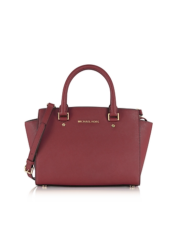 Selma Medium Mulberry Saffiano Leather Top-Zip Satchel Bag