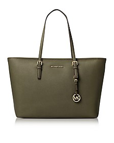Jet Set Travel Medium Olive Saffiano Leather Top-Zip Tote - Michael Kors