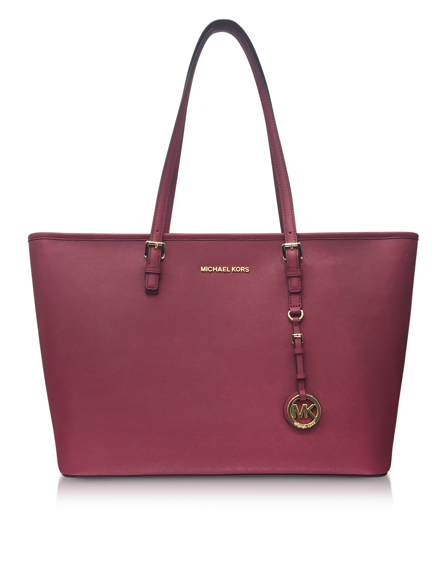 Michael Kors Handbags, Jet Set Travel Medium Mulberry Saffiano Leather Top-Zip Tote