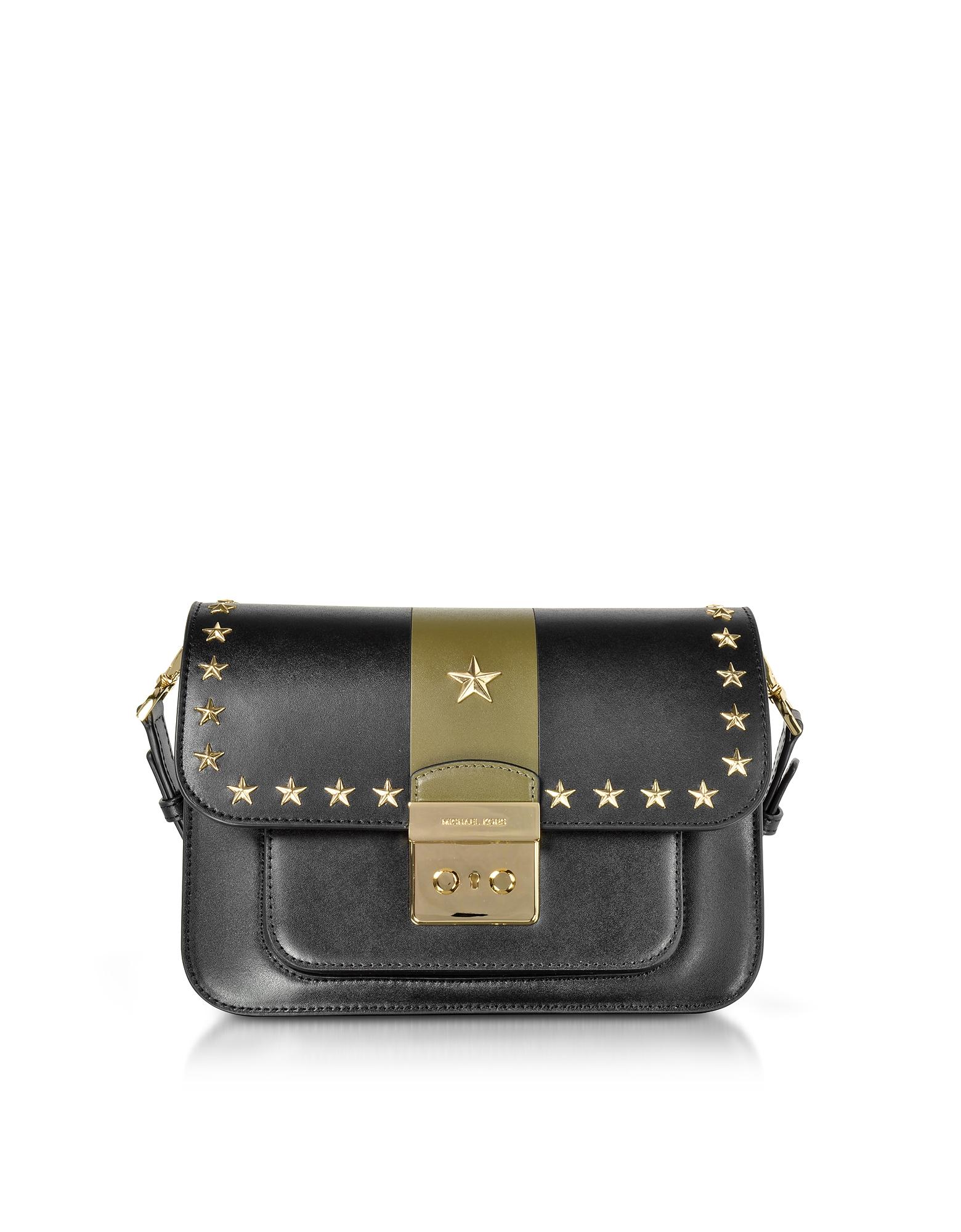 Sloan Editor Large Black and Olive Leather Shoulder Bag w/Stars