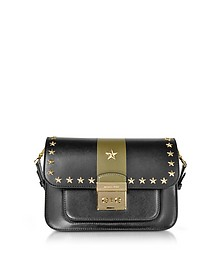 Sloan Editor Large Black and Olive Leather Shoulder Bag w/Stars - Michael Kors