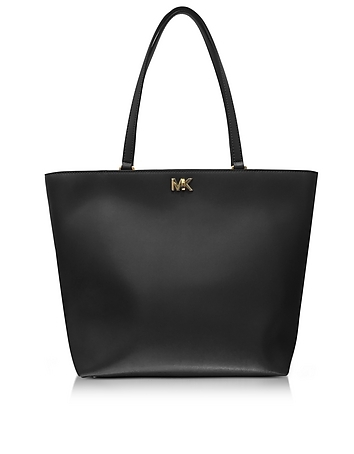 Mott Medium Black Leather Tote Bag