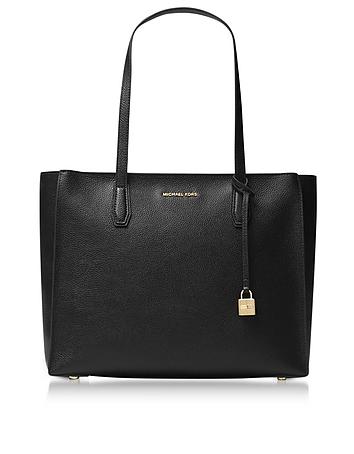 Mercer Large Black Pebble Leather Top Zip Tote Bag