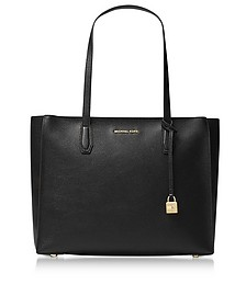 Mercer Large Black Pebble Leather Top Zip Tote Bag - Michael Kors