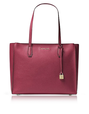 Mercer Large Mulberry Pebble Leather Top Zip Tote Bag