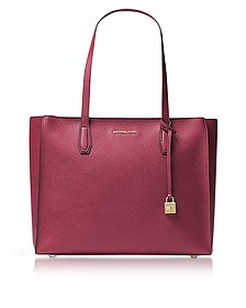 Mercer Large Mulberry Pebble Leather Top Zip Tote Bag - Michael Kors