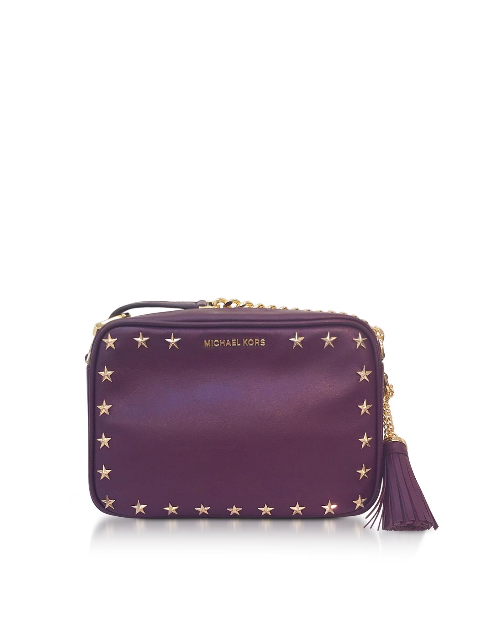 Michael Kors Handbags, Ginny Medium Damson Leather Camera Bag w/Stars