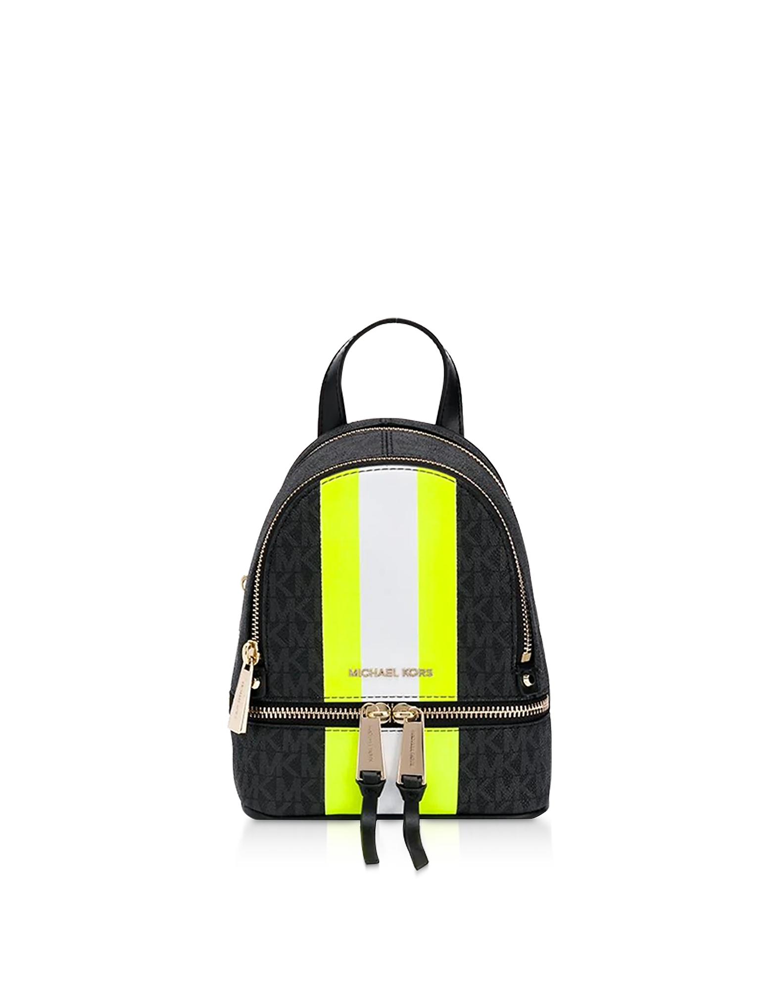 Michael Kors  Handbags Rhea Backpack w/ Neon Stripe