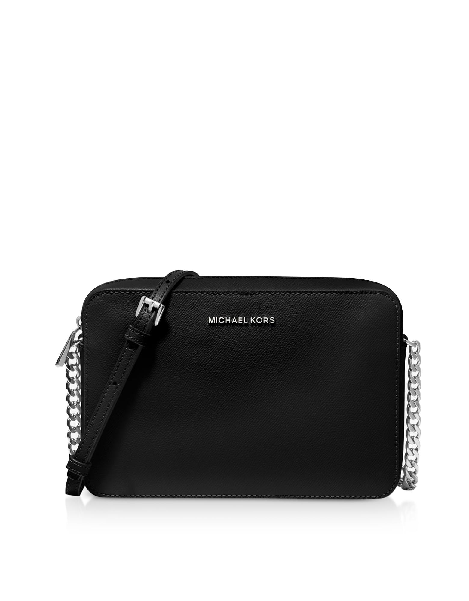 Michael Kors Designer Handbags, Jet Set Large Saffiano Leather Crossbody Bag