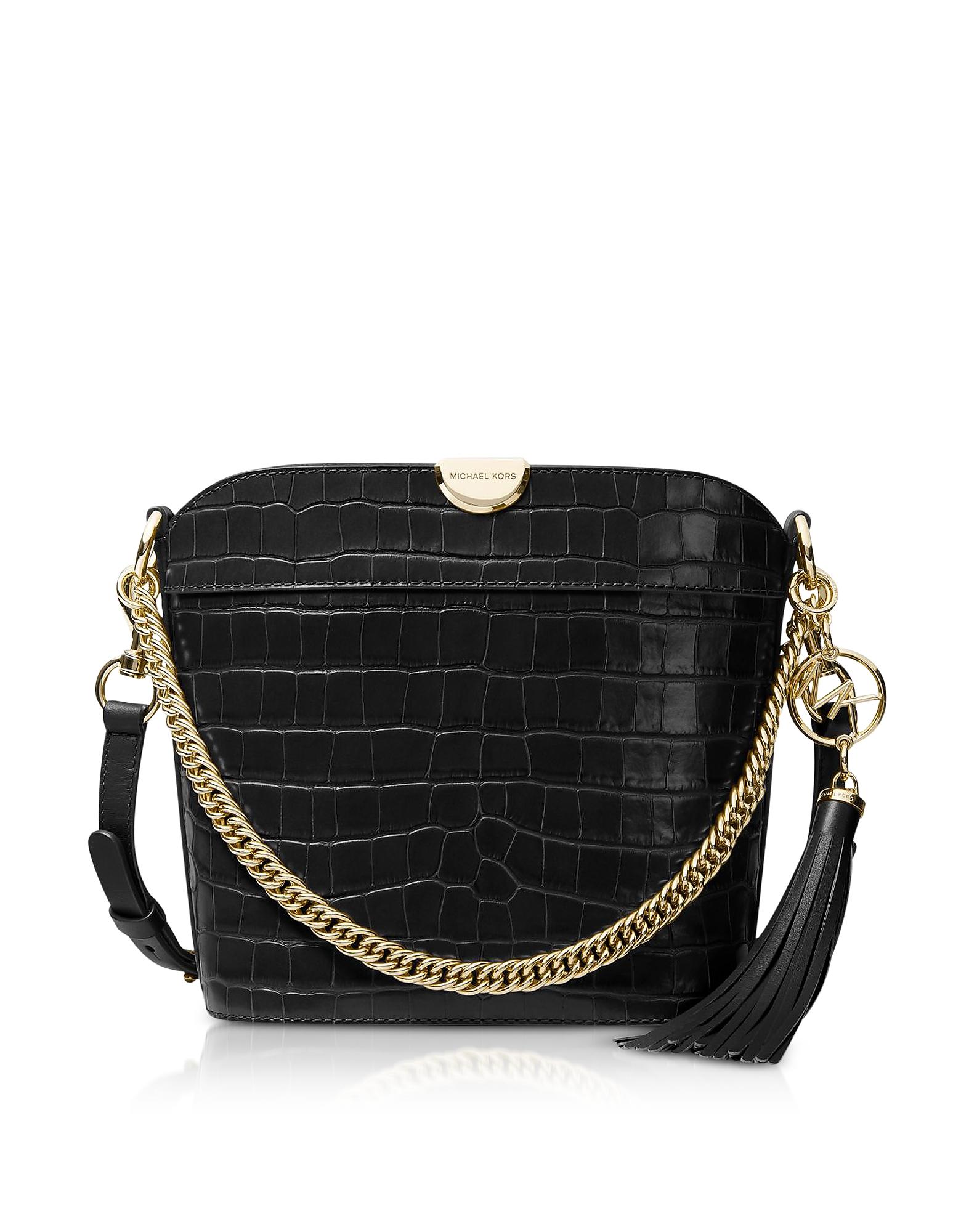 Bea Medium Crocodile-Embossed Leather Bucket Shoulder Bag