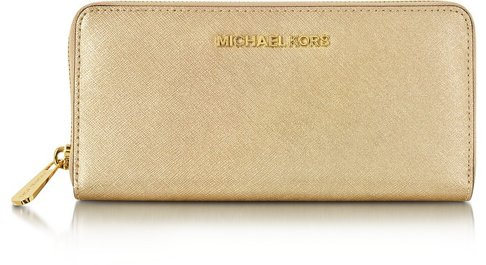 Jet Set Travel Pale Gold Saffiano Leather Continental Wallet - Michael Kors