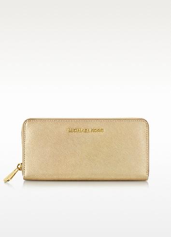 Jet Set Travel Pale Gold Saffiano Leather Continental Wallet - Michael Kors