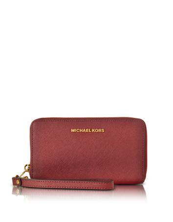 michael kors female jet set travel large flat mf cherry saffiano leather phone casewallet