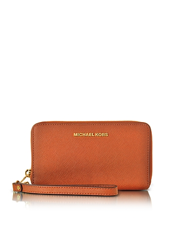 Michael Kors - Jet Set Travel Large Flat MF Orange Saffiano Leather Phone Case/Wallet