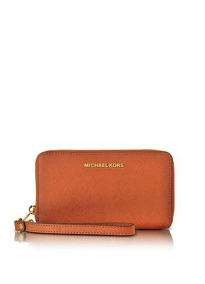 Jet Set Travel Large Flat MF Orange Saffiano Leather Phone Case/Wallet - Michael Kors