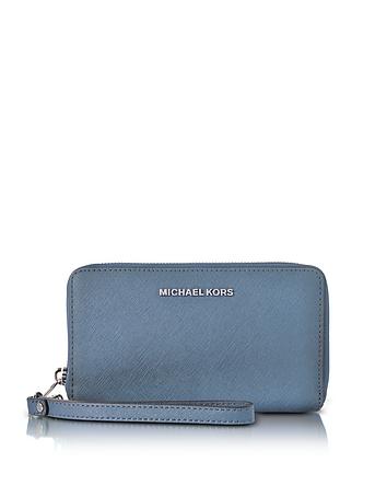 Michael Kors - Jet Set Travel Large Flat MF Denim Saffiano Leather Phone Case/Wallet