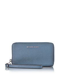Jet Set Travel - Grand Portefeuille en Cuir Saffiano Bleu Denim - Michael Kors