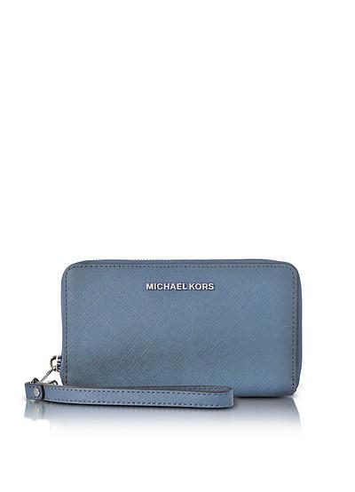 Jet Set Travel Large Flat MF Denim Saffiano Leather Phone Case/Wallet - Michael Kors
