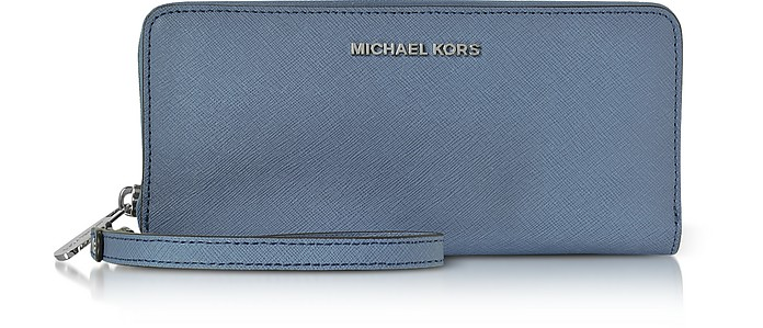 Jet Set Travel Large Denim Continental Wristlet Leather Wallet - Michael Kors