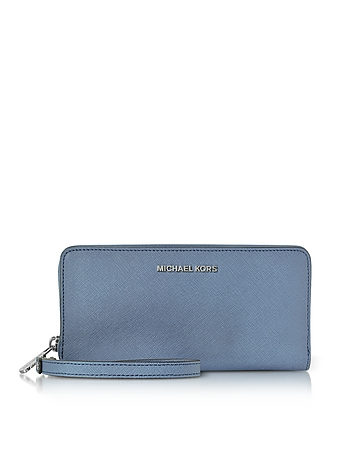 Michael Kors - Jet Set Travel Large Denim Continental Wristlet Leather Wallet