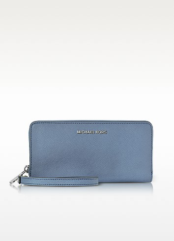 Jet Set Travel Large Denim Continental Wristlet Leather Wallet - Michael Kors