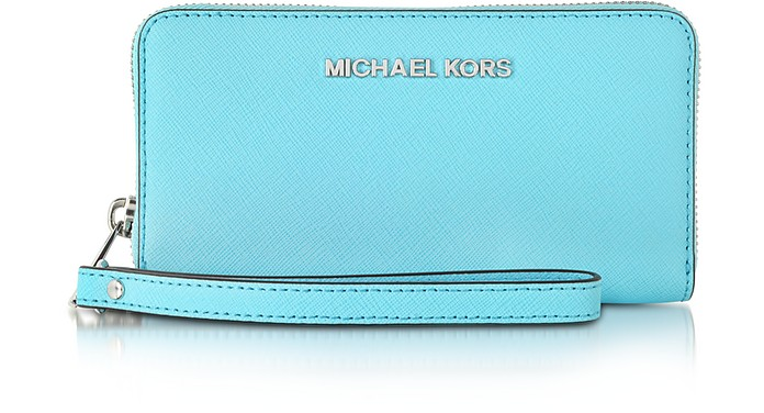 Aquamarine Jet Set Travel Phone Wristlet for iPhone and Samsung - Michael Kors