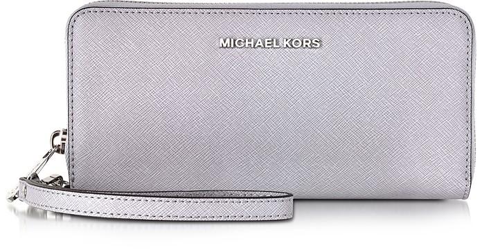 Jet Set Travel Lilac Saffiano Leather Tech Continental Wallet - Michael Kors