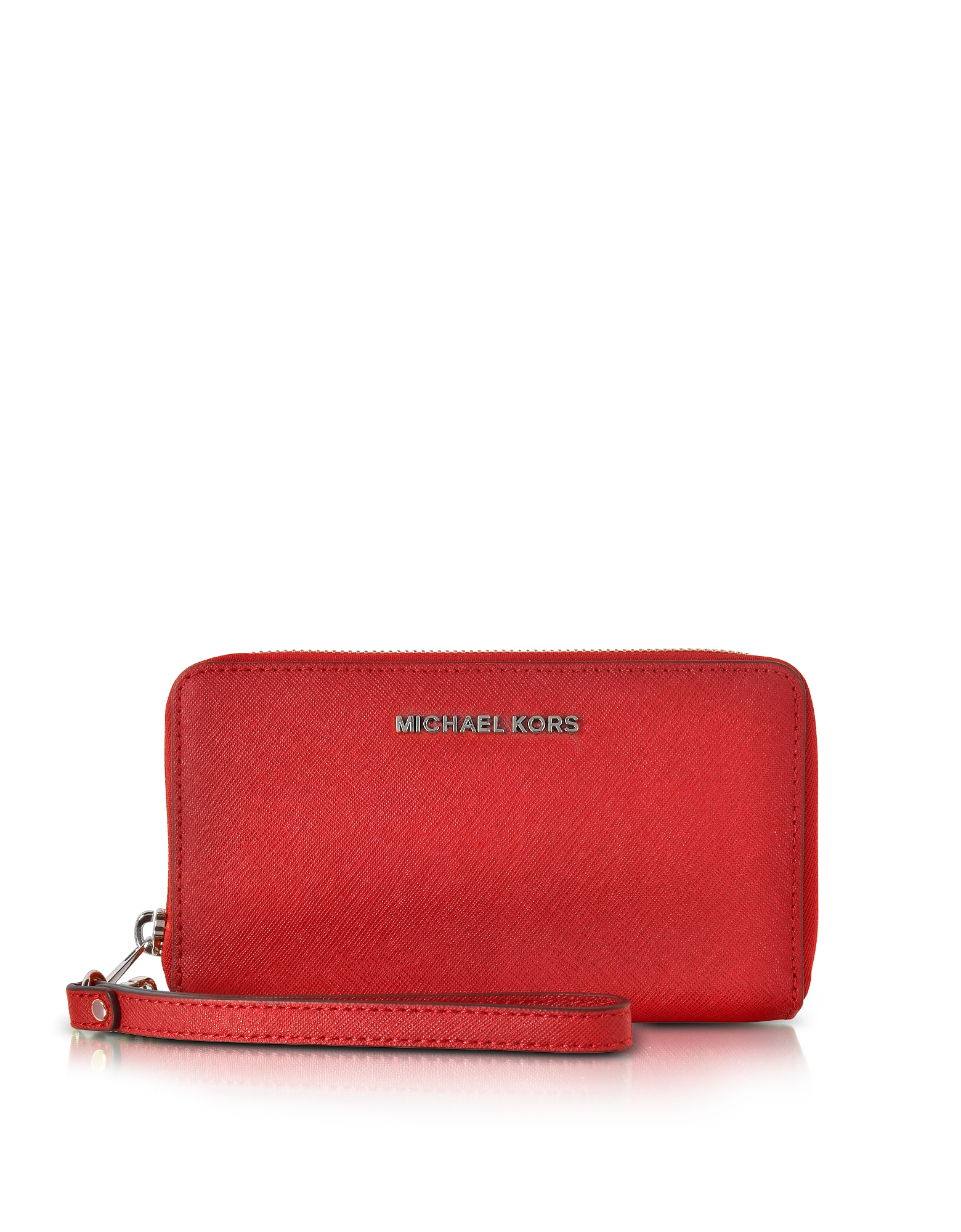 Michael Kors Handbags, Jet Set Travel Large Flat MF Bright Red Saffiano Leather Phone Case/Wallet