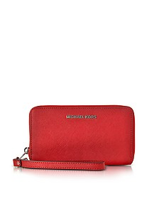 Jet Set Travel - Grand Portefeuille en Cuir Saffiano Rouge - Michael Kors