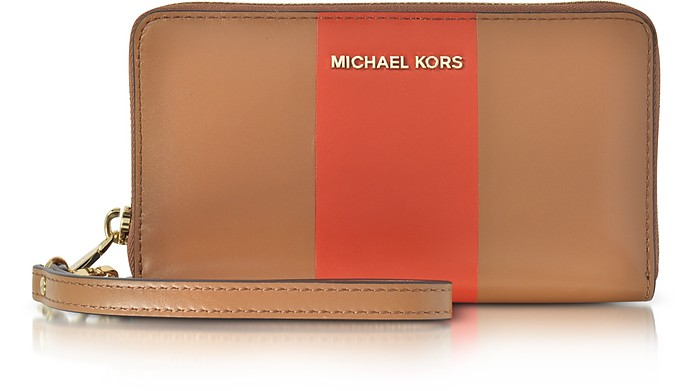 Jet Set Travel Large Central Stripe Acorn & Orange Leather Phone Case/Wallet - Michael Kors