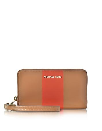 Michael Kors - Jet Set Travel Large Central Stripe Acorn & Orange Leather Phone Case/Wallet