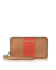 Jet Set Travel - Grand Portefeuille en Cuir Marron avec Bande Centrale Orange - Michael Kors