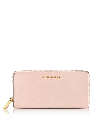 Michael Kors - Soft Pink Jet Set Travel Saffiano Leather Continental Wallet