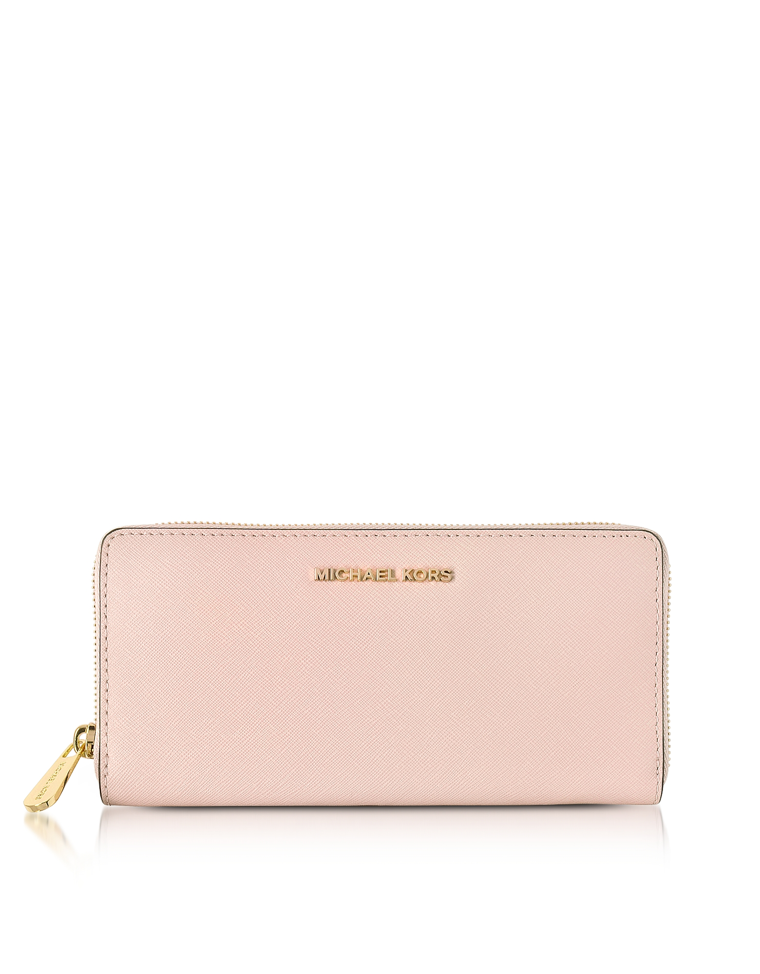 Michael Kors Soft Pink Jet Set Travel Saffiano Leather Continental Wallet