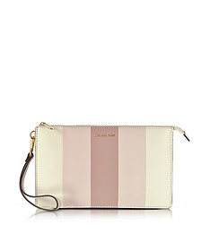 Large Daniela Striped Leather Zip Clutch - Michael Kors