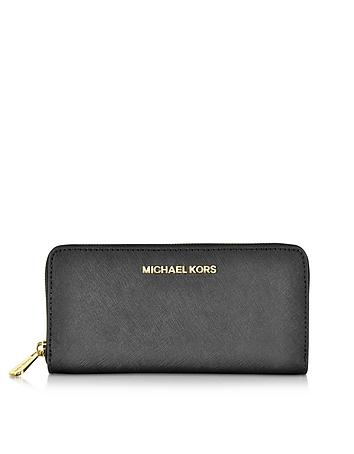 Michael Kors - Black Jet Set Travel Saffiano Leather Continental Wallet