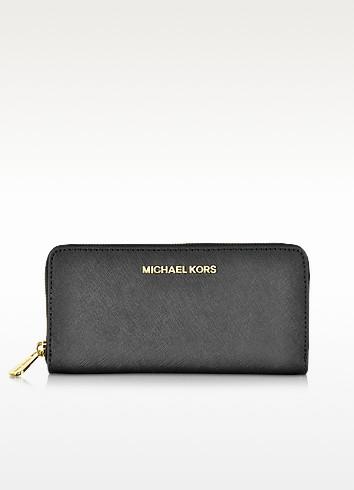 Black Jet Set Travel Saffiano Leather Continental Wallet - Michael Kors