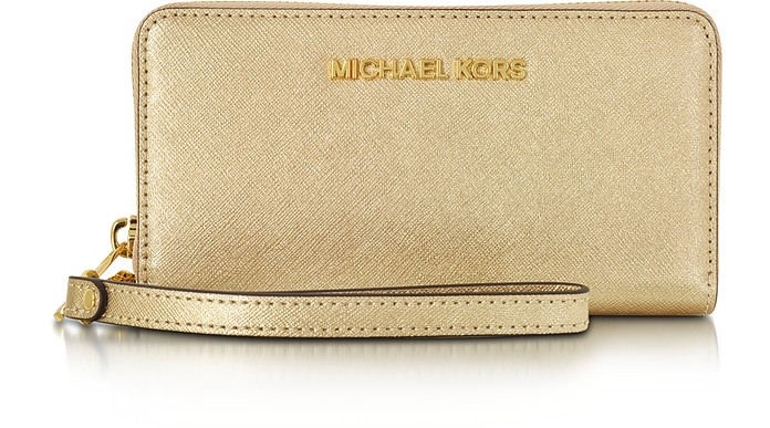 Pale Gold Metallic Saffiano Leather Jet Set Travel Large Smartphone Wristlet - Michael Kors