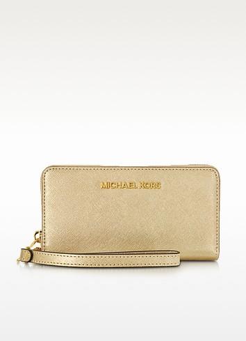 Pale Gold Metallic Saffiano Leather Jet Set Travel Large Smartphone Wristlet - Michael Kors