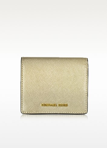 Jet Set Travel Pale Gold Saffiano Leather Carryall Card Case - Michael Kors