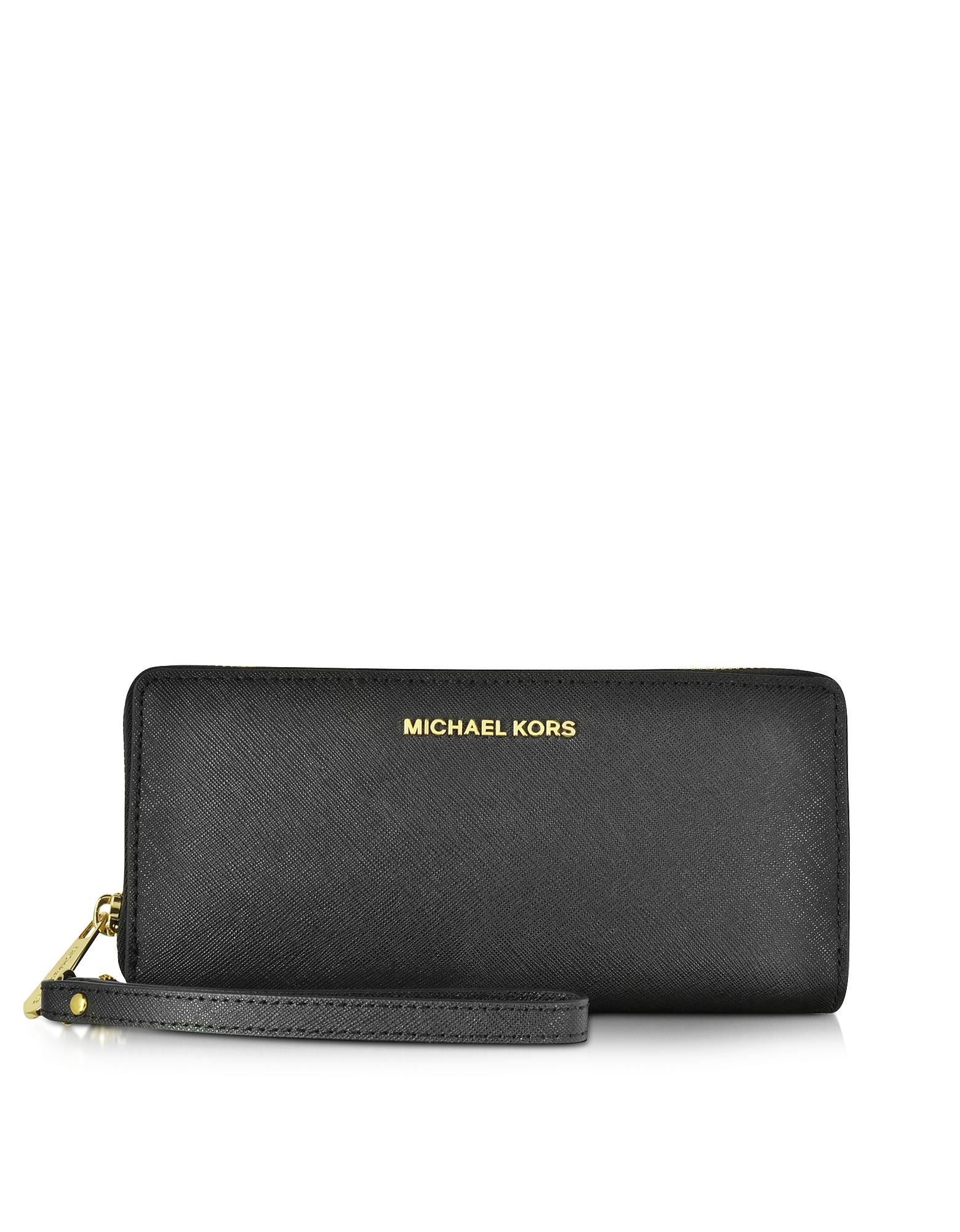 Michael Kors Handbags, Jet Set Travel Large Continental Wristlet Leather Wallet