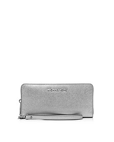 Jet Set Travel Large Silver Metallic Leather Continental Wallet - Michael Kors