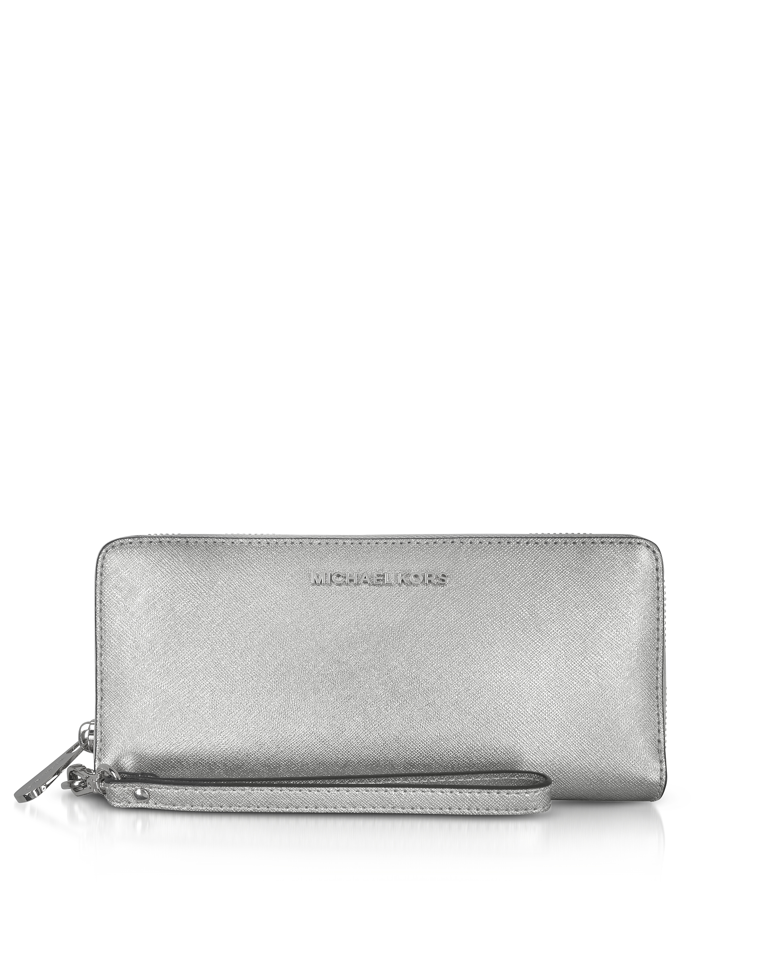 Michael Kors Handbags, Jet Set Travel Large Silver Metallic Leather Continental Wallet