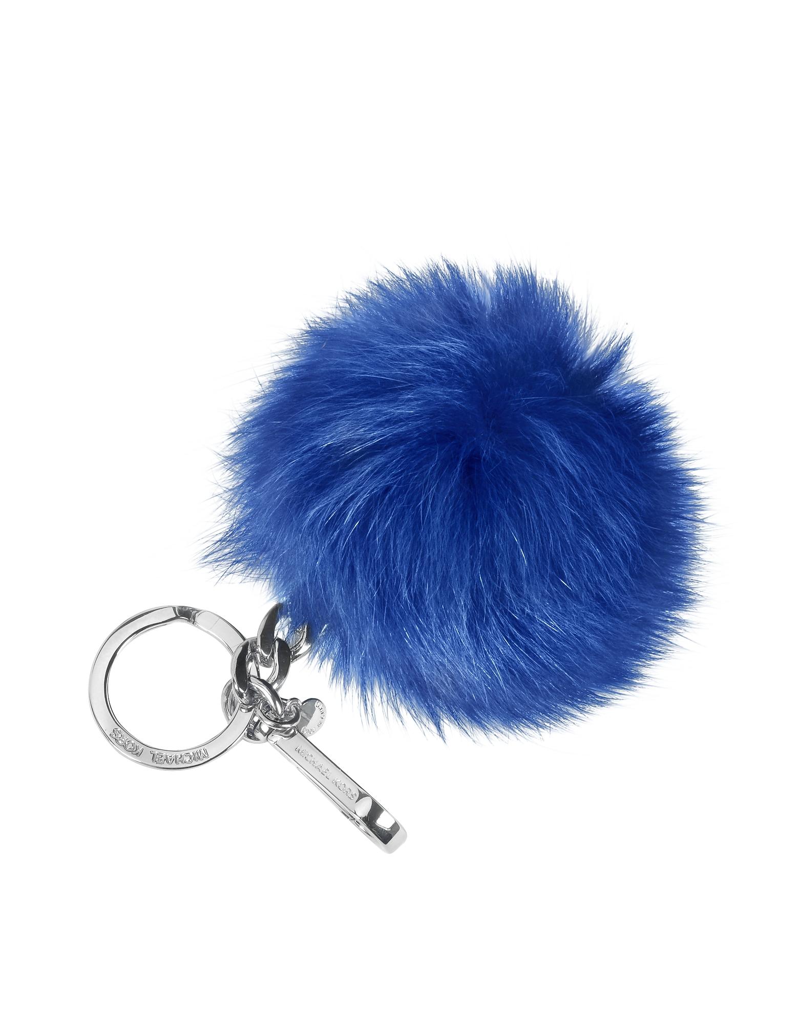 Брелок для Ключей с Меховым Пом Поном Синий Электрик
