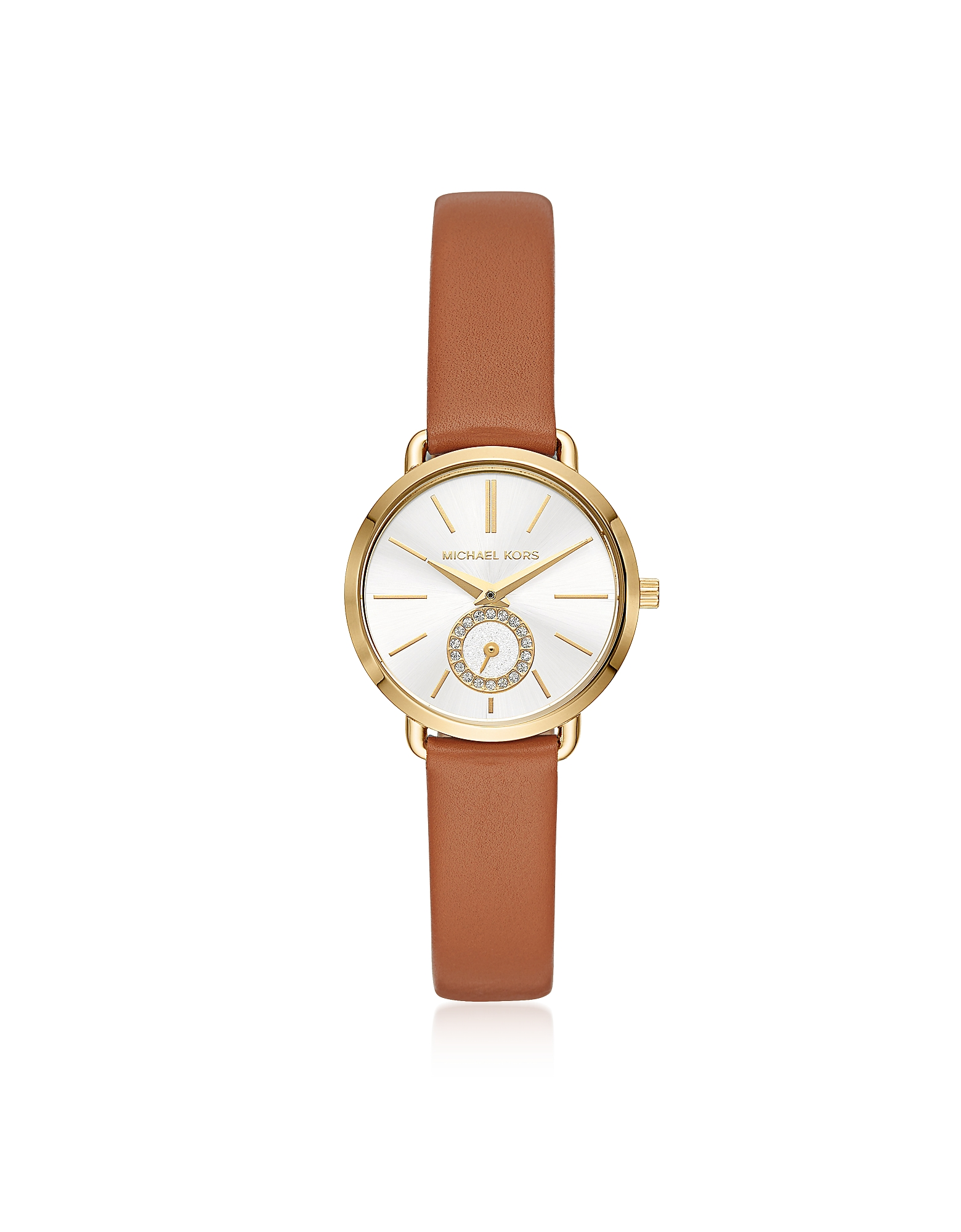Michael Kors Women's Watches, Michael Kors Women's Gold-Tone and Luggage Leather Portia Watch