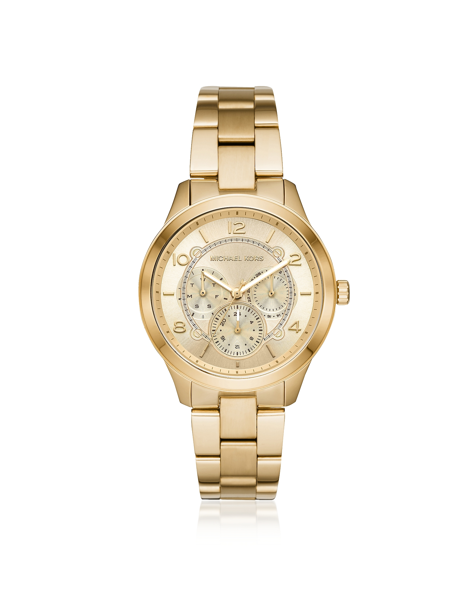 Runway Gold Tone Multi-function Watch