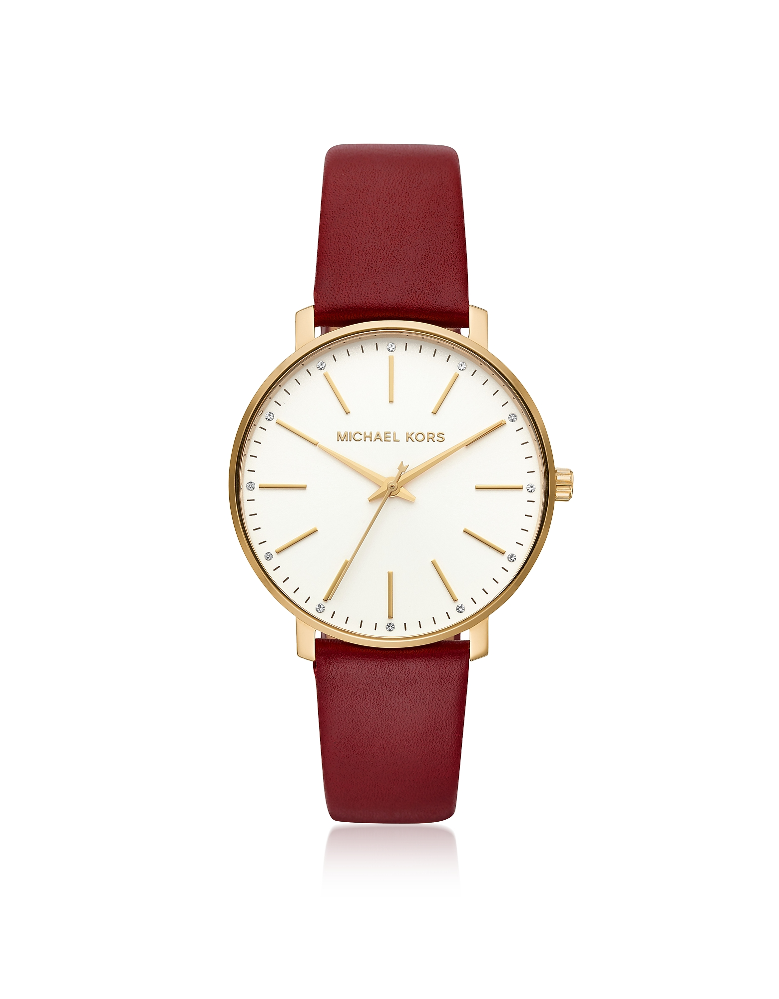 Michael Kors Women's Watches, Pyper Gold Tone and Maroon Leather Watch